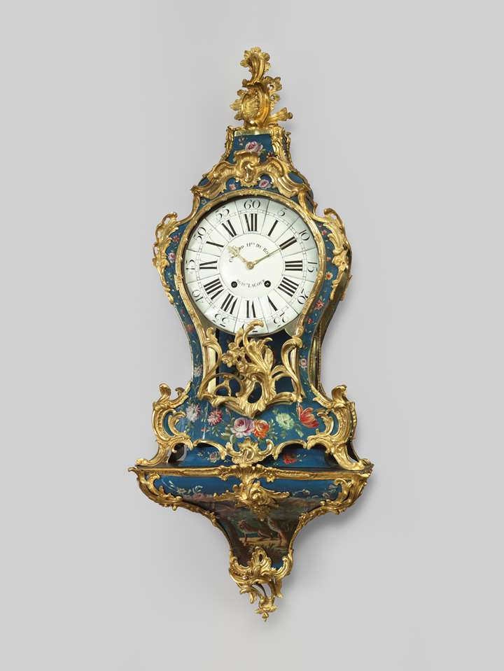 Blue European lacquer wall-clock Louis XV